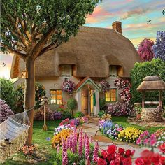 2017 New DIY Diamond Painting Cross Stitch Garden Cottage Embroidery Paste Diamond Kit Home Decor Crafts Sewing Hot Selling Fairytale Cottage, Garden Cottage, Cozy Cottage, Cottage Homes, Cottage Style, Tree Garden, Garden Archway, Backyard Cottage, Mountain Cottage