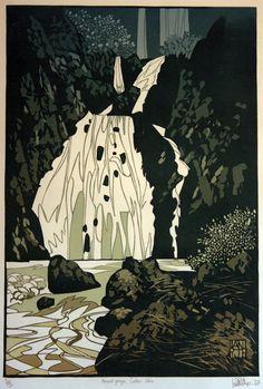 """""""Waterfall"""" linocut by Ian Phillips. http://www.reliefprint.co.uk/ http://linocutwales.blogspot.co.uk/ Tags: Linocut, Cut, Print, Linoleum, Lino, Carving, Block, Woodcut, Helen Elstone, Rocks, Water, River, Landscape."""