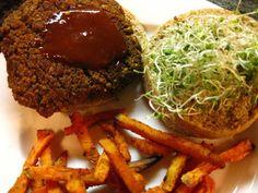 Chipotle lentil burger with cajun baked sweet potato fries