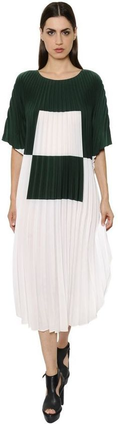 Akris Pleated Washed Crepe Caftan Dress