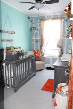 Traditional Woodland Nursery with pops of aqua, gray and orange!