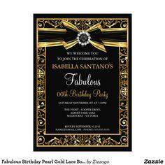 60th birthday invitation 60th birthday party invitation womens fabulous birthday pearl gold lace bow black invite filmwisefo