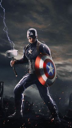 Captain America with Thor Mjolnir iPhone Wallpaper - iPhone Wallpapers