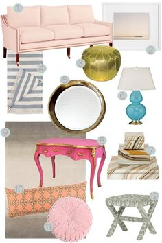 This style board is lovely...perhaps it's the pale pink sofa that I'm loving most.