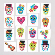 Day of the Dead Tattoos Skulls are usually scary…but these look really pretty! Celebrate Day of the Dead with these colourful sugar skull temporary tattoos. Easily applied with water. Size x Remove with baby oil. Age Suggested selling price each Halloween Treats For Kids, Halloween Party, Pochette Surprise, Crafts For Kids, Arts And Crafts, Cool Tats, Tattoos For Kids, Baby Oil, Party Bag Fillers