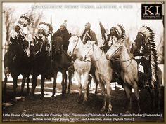 SIX FAMOUS NATIVE AMERICAN INDIAN CHIEFS IN HEADDRESS AND ON HORSEBACK ~ SIX 19TH CENTURY NATIVE AMERICAN LEADERS ON HORSEBACK (l-r) — Little Plume (Piegan), Buckskin Charley (Ute), Geronimo (Chiricahua Apache), Quanah Parker (Comanche), Hollow Horn Bear (Brulé Sioux), and American Horse (Oglala Sioux). Photo: Edward S. Curtis, circa 1900.