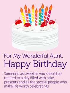 Birthday Cake Card For Aunt