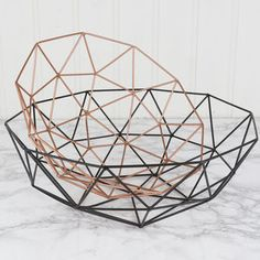 Set Of Two Copper And Black Geometric Baskets - bedroom
