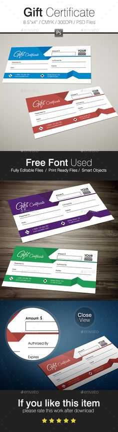 Gift Certificate - Certificates Stationery #design Download: https://graphicriver.net/item/gift-certificate/17398895