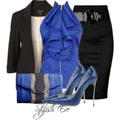 Cute work outfit. Pretty blues with a black jacket and black pencil skirt.