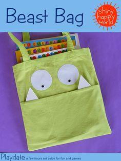 Kids Beast School Book Bag Sewing Pattern by Wendi Gratz