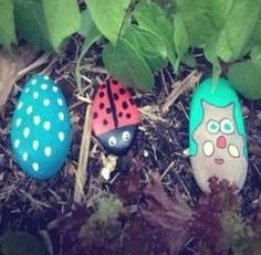 PET ROCKS: Fun thing to do on rainy day and kids can learn about minibeasts as well as paint them.