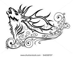 ornamented deer tattoo - vector illustration
