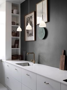 gold and gray kitchen