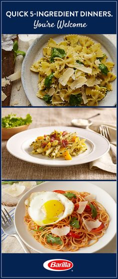 When an elaborate dinner isn't in the cards, turn to one of these quick 5-ingredient pasta recipes that will get a meal on the table in a flash.