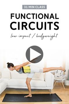 Functional Circuits Low Impact Class (31 Mins) - Bodyweight | In this total body, low impact workout class, we'll complete two circuits and incorporate exercises that challenge balance and stability. Warm up and cool down included. Video up on YouTube! #workoutvideo #lowimpactworkout #bodyweighttraining Hiit Workout Videos, Workout For Beginners, Fun Workouts, At Home Workouts, Free Workout, Workout Classes, Mom Workout, Best Body Weight Exercises, Home Exercise Routines