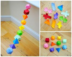 How to DIY Colorful Geometric Garland from Template – Origami Diy Origami, Diy And Crafts, Arts And Crafts, Paper Crafts, Nerd Crafts, Crafts To Sell, Diy Girlande, Papier Diy, Platonic Solid