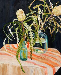 """Banksia Speciosa and Striped Cloth"" by Laura Jones | Olsen Irwin Gallery Sydney Australia"