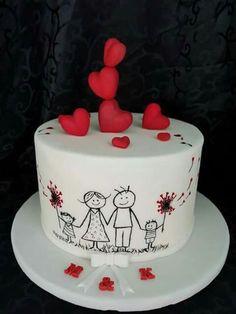 Cute family Valentine's cake Kuchen iDeen 🎂 Happy Anniversary Cakes, Wedding Anniversary Cakes, Cupcake Birthday Cake, Cupcake Cakes, Cup Cakes, Food Cakes, Birthday Cake For Husband, Husband Cake, Aniversary Cakes