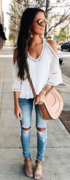 #winter #outfits  white v-beck elbow-sleeved blouse