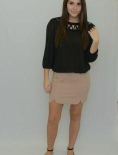 Taupe Charlotte Skirt  http://shoptaylormonroe.com/product/taupe-charlotte-skirt/