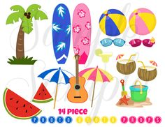 Summer Beach Party 16 piece Photo Booth Props PRINTABLE Download