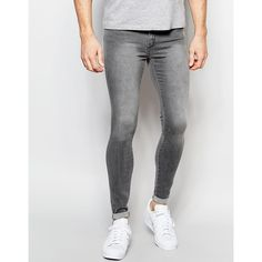 Dr Denim Jeans Dixy Extreme Super Skinny Gray Wash (75725 IQD) ❤ liked on…