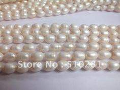 5piece 10-11mm Big Size 16inch full strand White Oval Rice Freshwater Pearl Strand US $40.00