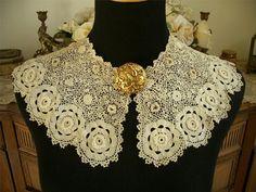Handmade Reversible Antique Vtg Edwardian Irish Crochet Lace Collar Dress Front | eBay