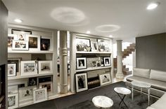 Love this. Leaning frames with ledges instead of nailing them to the walls. (via #apartment therapy)