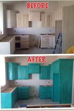 Chalk paint cabinets :)