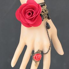 Vivid Solid Rose Embellished Lace Bracelet With Ring For Women