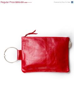 ON SALE 30% Red leather purse Wristlet clutch Evening bag on Etsy, $66.50