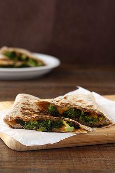 Roasted broccoli &cheese quesadillas..use gf tortillas