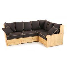 Canapé d'angle modulable pin massif avec coffre | Grenier Alpin