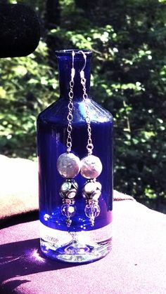 Coin freshwater pearls w rhinestone & swarovski crystal &  sterling silver chain earrings