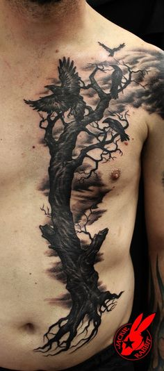 Evil Ravens Tree Tattoo by Jackie Rabbit - 60 Mysterious Raven Tattoos <3 <3