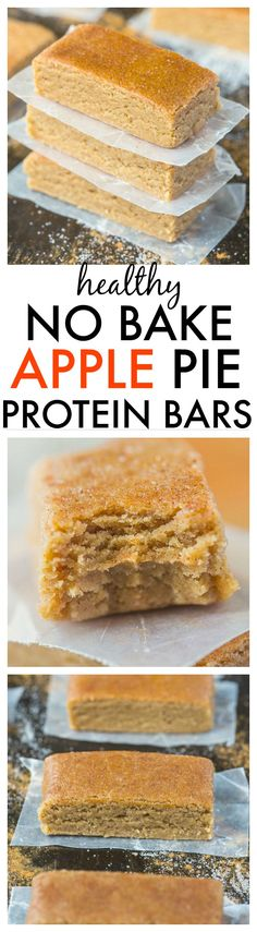 Healthy No Bake Apple Pie Protein Bars-ust 10 minutes and 1 bowl to whip these up- Soft, chewy and no refrigeration needed- {vegan, gluten free, refined sugar free + paleo option! Healthy Baking, Healthy Desserts, Delicious Desserts, Yummy Food, Healthy Recipes, Tasty, Bariatric Recipes, Diabetic Recipes, Protein Recipes