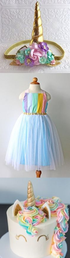 Rainbow Unicorn Pastel birthday party inspiration for toddler and girl, shop rainbow tulle dress at www.amandaarcher.com