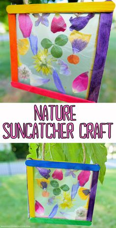 Nature suncatcher craft for kids. Popsicle stick suncatcher craft with flower petals. Spring Crafts For Kids, Projects For Kids, Art For Kids, Art Projects, September Kids Crafts, Kids Nature Crafts, Cool Crafts For Kids, Summer Arts And Crafts, Craft Activities