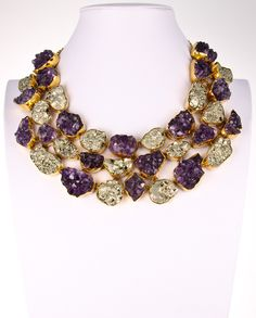 Style# ALN04: Amethyst Geode & Pyrite Necklace by Charles Albert. Retail $ 1,399.