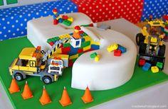 lego block cake under construction