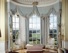 The Drawing Room at Hinton Ampner, Hampshire, England with views from the windows and heavily draped curtains. After the fire of 1960 the room was redesigned to complement the century styles of the other rooms Home, Georgian Interiors, Window Decor, Home Remodeling, Drapes Curtains, Beautiful Curtains, Interior Design, Curtains For Arched Windows, Curtain Designs