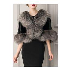 Faux Fur Wrap Cape Weddings Evening Coat ($56) ❤ liked on Polyvore featuring outerwear, coats, black, patterned coat, short cape coat, fake fur coats, faux fur cape coat and imitation fur coats