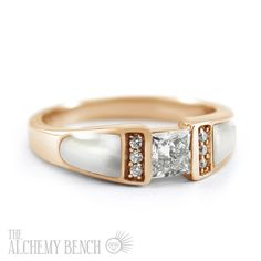 Stunning and Nontraditional Engagement Ring! White mother of pearl and diamonds pair with rose gold for a look that will set you apart. | The Alchemy Bench #BridalTransformed