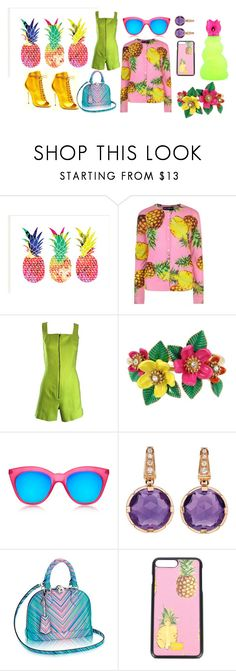 """""""Ananas"""" by thedeannaelizabeth on Polyvore featuring Rodarte, Dolce&Gabbana, Claude Montana, Betsey Johnson, Le Specs and Bulgari"""