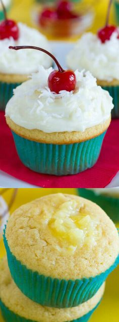 These Sweet Piña Colada Cupcakes from Life Made Simple are filled with pineapple and topped with a light and fluffy pineapple coconut cream cheese frosting