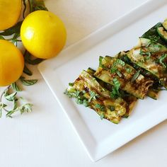 Grilled zucchini with lemon and herbs, by Chicks with Knives