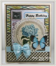 BUTTERFLY HYDRANGEA BIRTHDAY Greeting Card by PollysPaper on Etsy, $7.00
