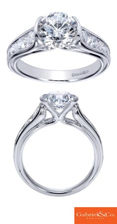 A 14k White Gold Diamond Straight Engagement Ring. Discover your perfect engagement ring at Gabriel & Co.